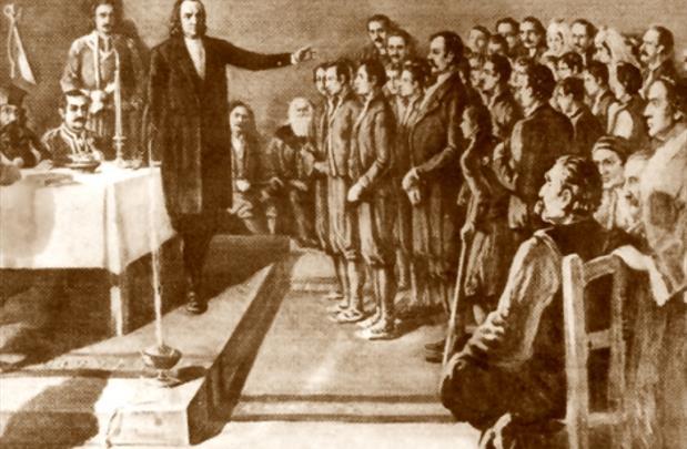Dostitej Obradović se obraća prisutnima prilikom otvaranja Velike Škole 1808. godine