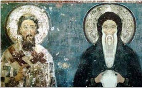 Sveti Sava i Sveti Simeon Manastir Mileševa- Originalna freska je nekompletna pa je kompjuterskom obradom dodat Simeon