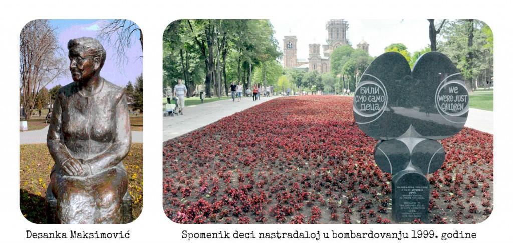 Spomenik Desanki Maksimović i spomenik deci nastradaloj za vreme bombardovanja 1999. godine