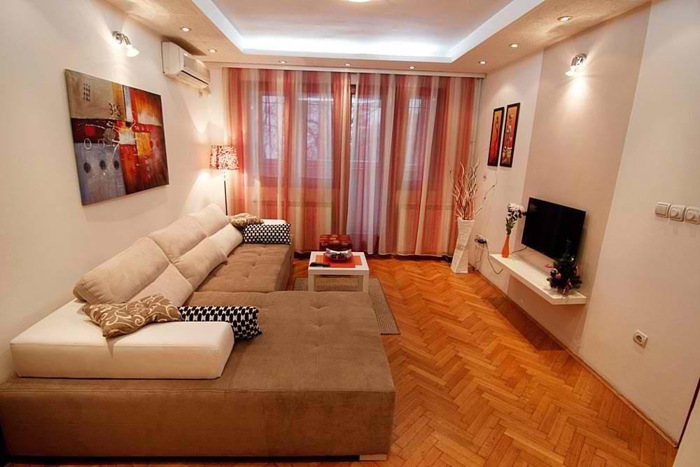 Prikaz dnevne sobe u apartmanu Aleksandrija na Slaviji