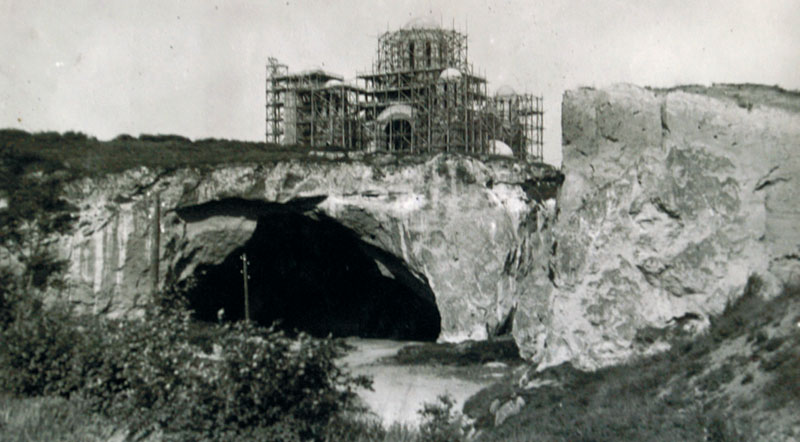 The stone pit entrance and St Marks church under Construction. Photo taken in 1930s