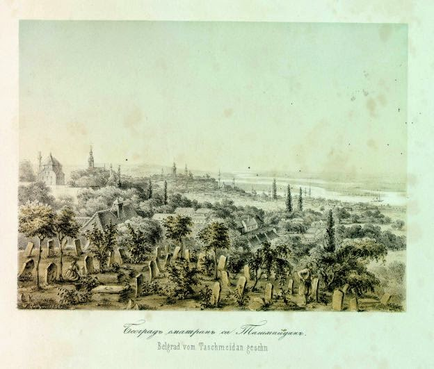 The view over Belgrade from Tasmajdan Graveyard in 1857. Remains of Batal Mosque can be seen in the background