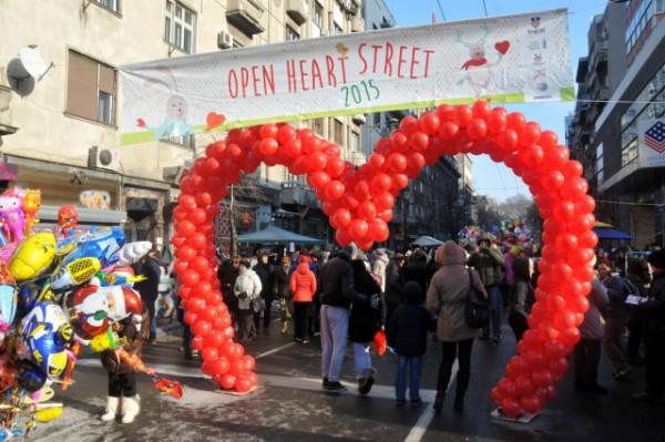 Nova godina u Beogradu - ulica Otvorenog srca